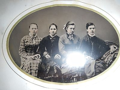 """Antique Large 7""""x5"""" Tintype 4 Young Ladies Women in Dresses Sitting on Couch"""