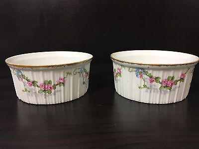 2 Antique GDA France LIMOGES Porcelain Ramekins Pink and Blue Flowers Gold Trim
