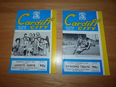 Cardiff City European Cup Winners' Cup Football Programmes 1976