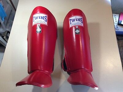 Twins Thai Boxing Muay Thai Kickboxing Shin Guards Leather NEW
