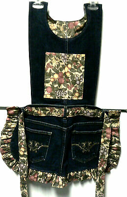 Apron, Women's Jeans w/pattern top, One Sz Fits Most, Hand-crafted, Fruit