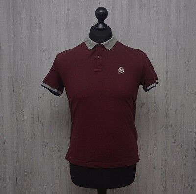 AUTHENTIC Men's Moncler Burgundy Polo Shirt Short Sleeve Size Small