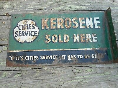 Vintage Original CITIES SERVICE KEROSENE OIL Advertising FLANGE SIGN