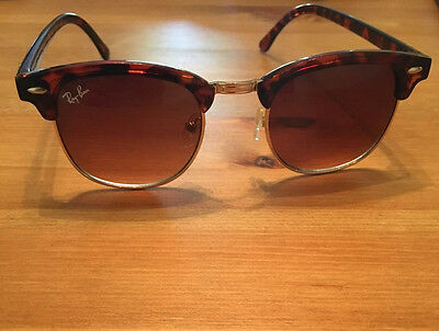 Ray Ban Unisex Clubmaster sunglasses brown tortoise EUC