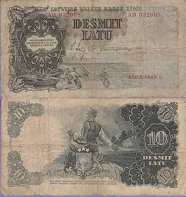 Latvia 10 Latu Banknote 1938 Very Good Condition Cat#29-B-2068