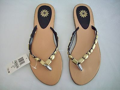 NWT Sandals Gold Beads Black Straps Thongs Flip Flops Size 8 $20