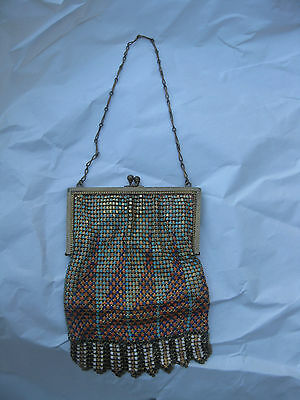 Antique 1920's Flapper's Purse Metal Mesh Coin Change Clutch Hand Bag with Chain