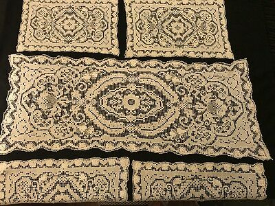 Set of Four Great Italian Placemats & Hand Made Runner Needlework on Net Darning