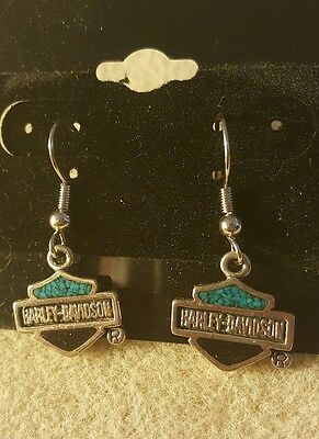 Harley davidson vintage  bar and shield earrings with turquoise