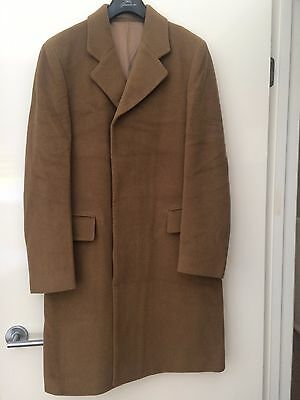 """True Vintage 70s Men's Wool Camel COAT made in UK - classic style 38-40""""chest"""