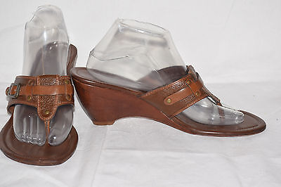 Cole Haan Brown Leather Thong Buckle Sandals Wedge Sandals Women's Size 10 B