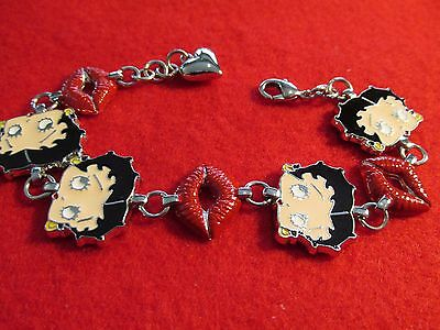 Vintage Betty Boop Charm Bracelet Signed KFS/FS Cartoon Memorabilia 7""
