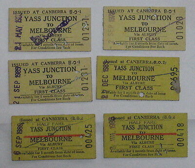 NSW railway tickets YASS JUNCTION TO MELBOURNE first class (2)