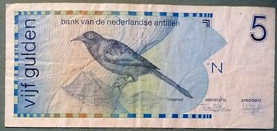 NETHERLANDS ANTILLES 5 GULDEN NOTE ISSUED 31.03. 1986, P22 a