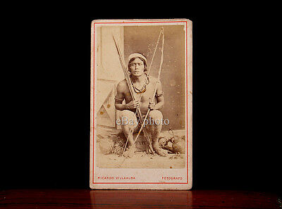 AMAZON NATIVE SOUTH AMERICAN INDIAN w/ BOW  CDV by RICARDO VILLAALBA PERU RARE!!