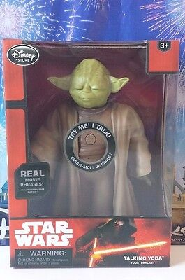 "DISNEY PARKS STORE  Animated Talking YODA Star Wars Force Awakens Movie 10"" NEW"