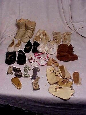 Large Group Of Antique And Vintage Doll Shoes