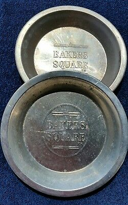 "Vintage Lot of 2 Bakers Square Aluminum Pie Tins Plates Pans Both are 8"" diam"