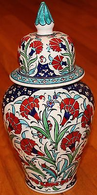 "12""x6"" Handpainted Turkish Iznik Red Carnation Pattern Ceramic Jar Urn Canister"