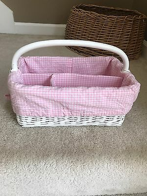 Pottery Barn Kids White Sabrina diaper caddy basket storage bin with liner