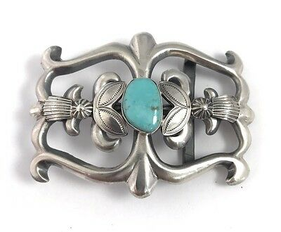 Native American Sterling Silver Navajo San Cast Turquoise Belt Buckle