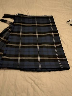 Blue Ramsay 8 Yard Wool Kilt size 45 with Matching Flashes