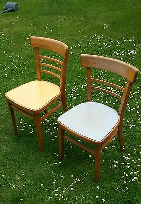 Pair of 1960's Vintage Wooden Cafe Chairs