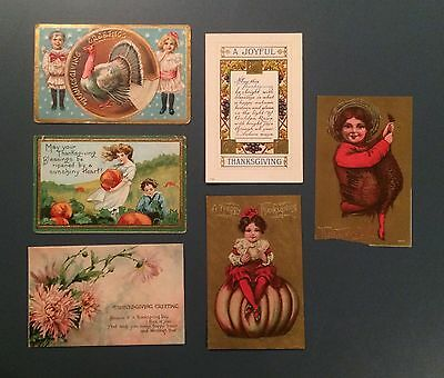 Vintage Thanksgiving Postcards, 1908, 1910, 1918, 1921, Lot of 6