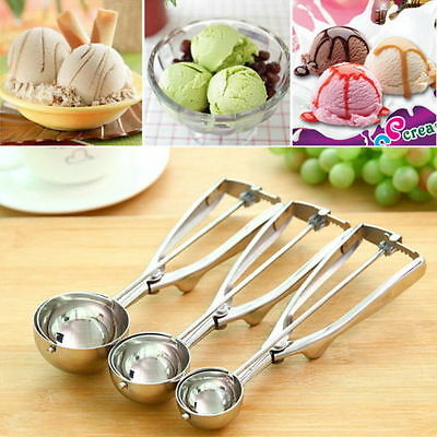 3 Pce Stainless Steel Spring Handle Ice Cream Scoop Spoon Mashed Potato Cookie