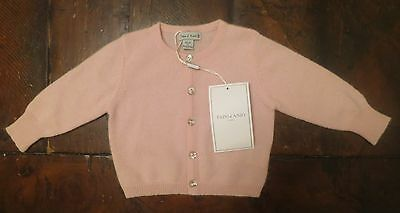 NWT Papo D'Anjo luxury 100% cashmere button down cardigan infant girl pink 3 mo