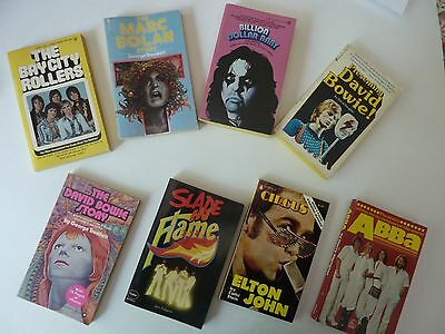 Lot Of 8 Rock Pop Music Paperbacks From The 1970's -  David Bowie Marc Bolan