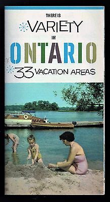 VARIETY IN ONTARIO - 33 VACATION AREAS - Vintage 1959 Tourism Brochure - NICE !!