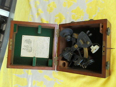 ORIGINAL HUGHES SEXTANT / CASE INSTRUMENT. FLYING BOATS WW2 with CERTIFICIATE
