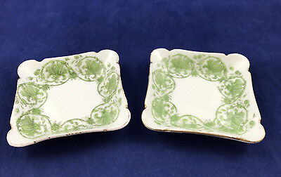 Vintage T & V Square Green Butter Pat Tea Bag Dishes Ovington Bros France