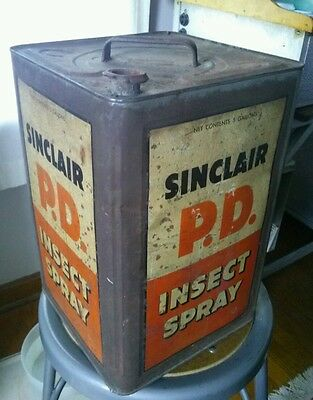 Vintage Sinclair P.d. Insect Spray Antique 5 Gallon Tin Can Gas Oil