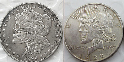 1893 Hobo Morgan Dollar On One Side, 1922 Hobo Peace Dollar On The Other