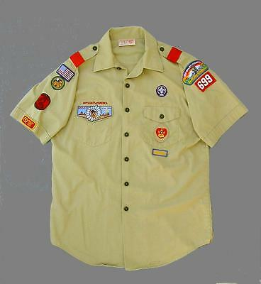 Boy Scouts Of America BSA BUCKSKIN INSTRUCTOR Official Men's L Shirt W/Patches