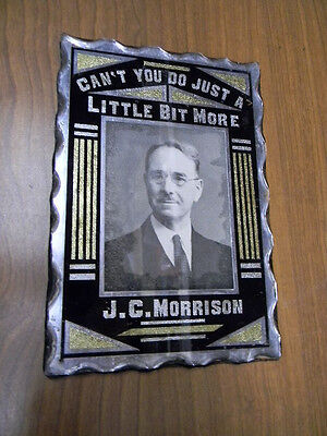 Very Old Thick Glass Campaign Sign 1800's J.g. Morrison