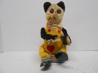 Alps Smoking and Shoe Shining Panda Bear Battery Operated Tin Toy Japan Works