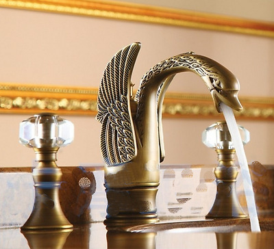 Crystal Handle Swan Style Antique Brass Basin Faucet Sink Hot Cold Washing Mixer