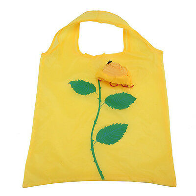 Portable Polyester Roses Foldable Ecological Bag yellow Y7A7