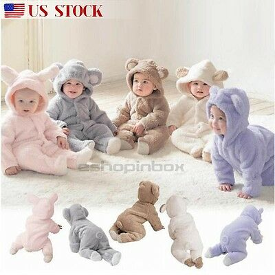 Newborn Baby Infant Boy Girl Romper Hooded Fleece Jumpsuit Bodysuit Outfits New