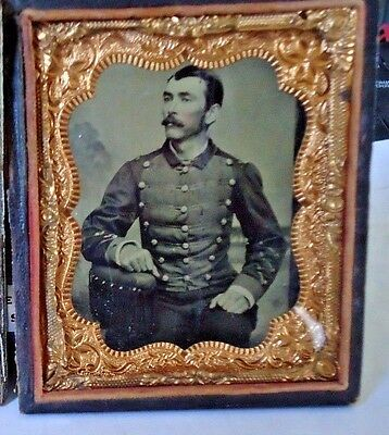 1/6th.P. Tintype Civil War Union Soldier West Point ? in Full Case.No Reserve
