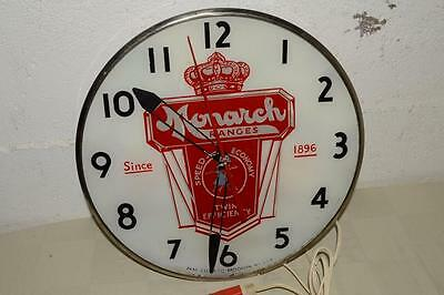 1950 Vtg PAM LIGHTED Advertising CLOCK Light MONARCH RANGES Reverse Painted Face