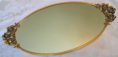 "Vintage Stylebuilt Large Roses 24K Gold Plated Oval Vanity Mirror Tray 21""x10"""