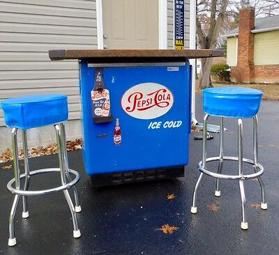 Vintage  Pepsi Cola 1950's Cooler Ice Box Bar Man Cave With Stools Like Coke
