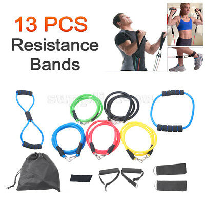 13pcs HeavyDuty Resistance Bands Workout Exercise Yoga Set Crossfit Fitness Tube