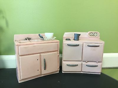 Vintage Tico 1950's Pink Plastic Doll Kitchen Furniture Sink and Stove
