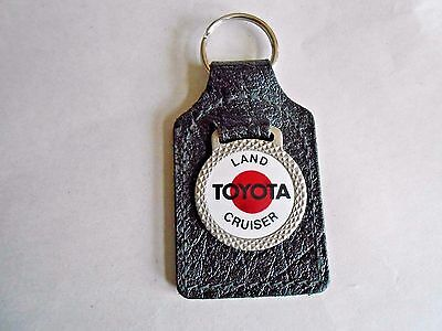 Vintage Toyota Land Cruiser Advertising Metal Fob and Leather Keychain