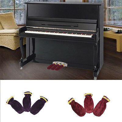 3Pcs/set Piano Pedal Protecor Cover Bordeaux Red Bordered Pedal Protect Sleeves